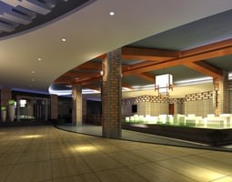 3d lobby with designer pillar and interior