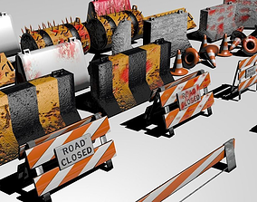 3D model Road blocks and signs