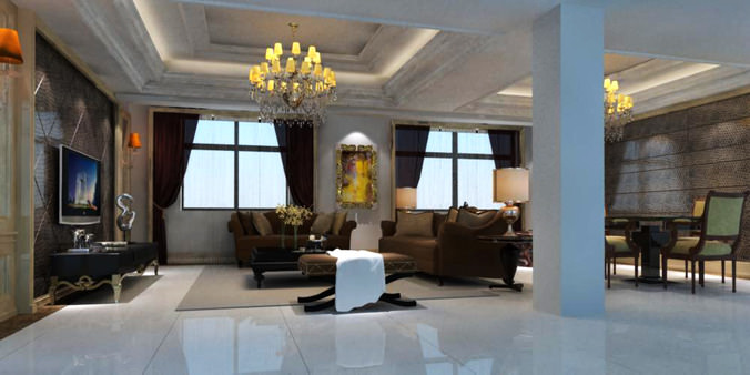 living room with tv cum dining room 3d model max 1