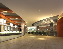 Lobby with Wooden Ceiling Decor 3D Model