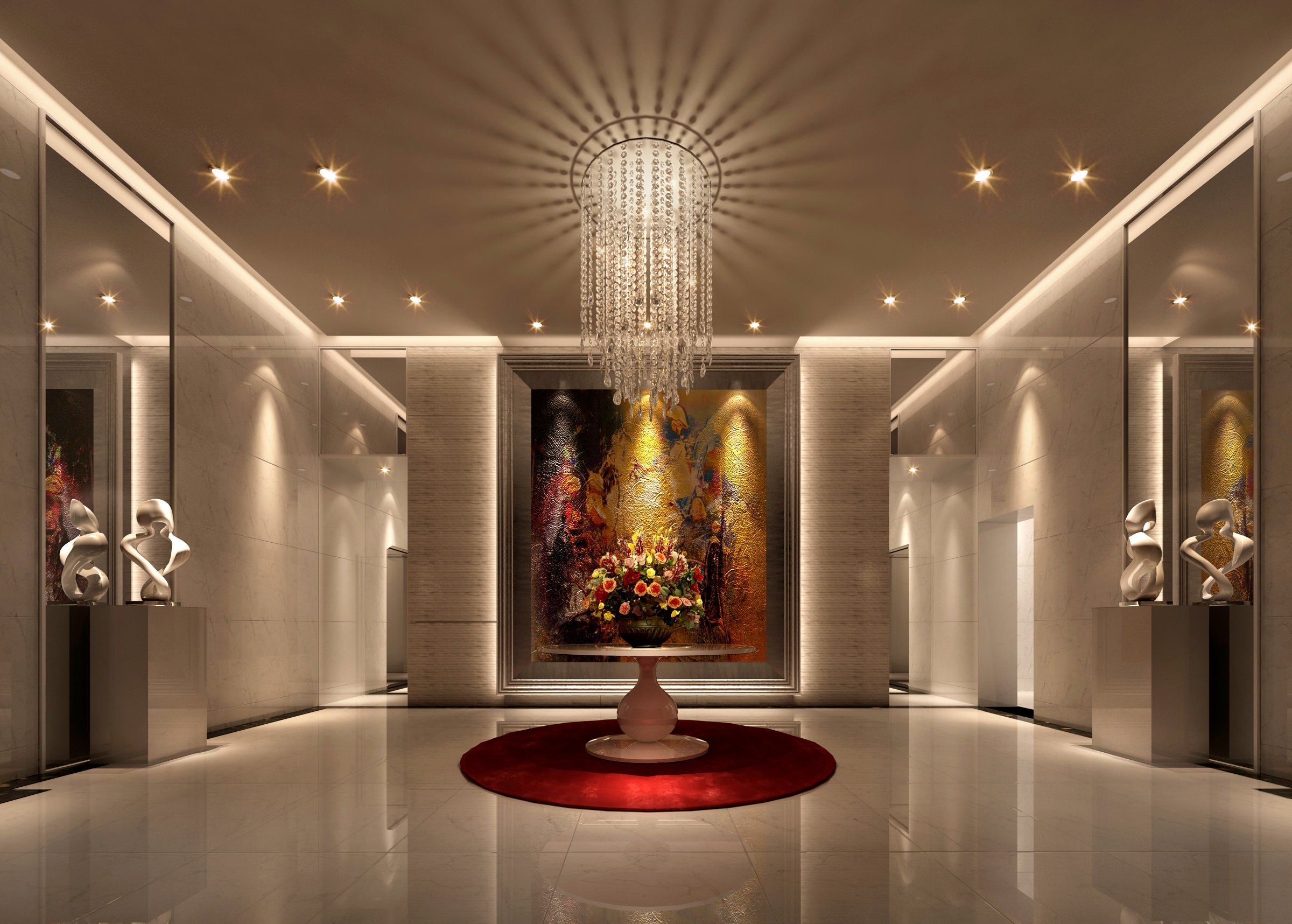Corridor with Fancy Chandelier and Sculptures 3D model MAX