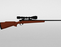 3D model game-ready Low Poly Hunting Rifle