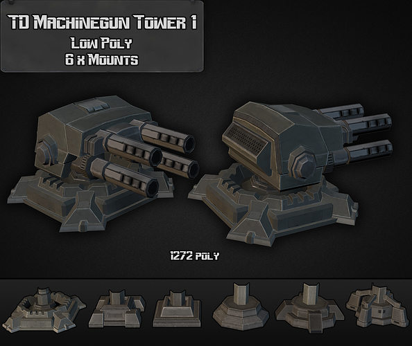 td machinegun tower 01 3d model low-poly max obj mtl 3ds fbx dxf dwg 1