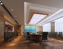 3d model conference room with abstract wall painting