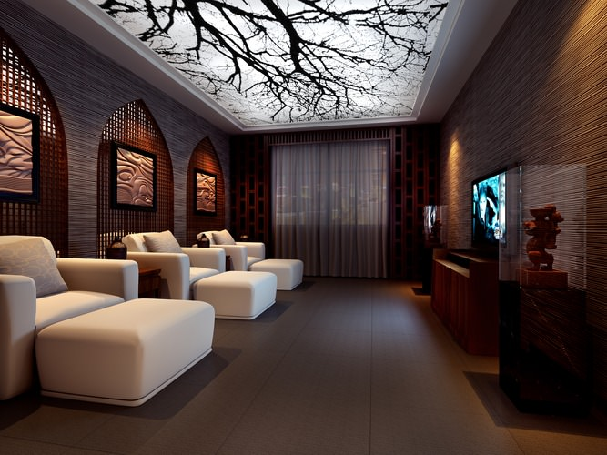 spa room with stylish designer ceiling 3d model max 1