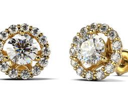 Heart group earrings 3D printable model gemstone
