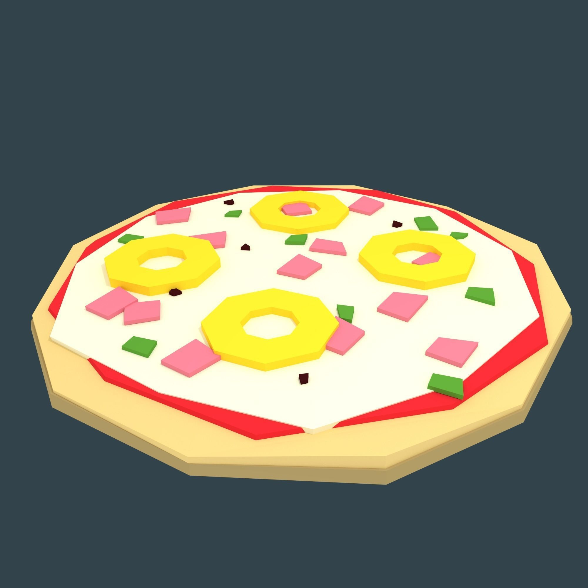 Low-poly stylized pizza hawaii