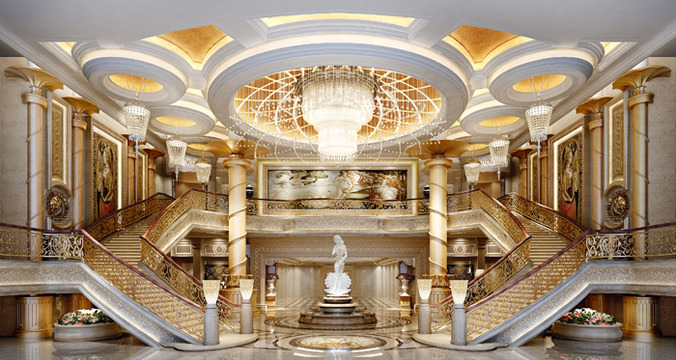 Luxurious lobby with dual staircase 3d model max for Architecture models for sale