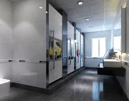 Public Toilet With Designer Appliances 3d Model Max
