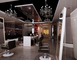 hairdressing room with decor chandeliers 3d