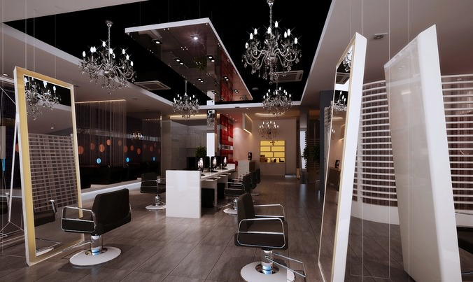 Hairdressing Room With Decor Chandeliers 3d Model Max