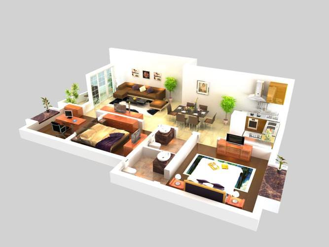 Exquisite office space cum living room 3d model max for Living room designs 3d model