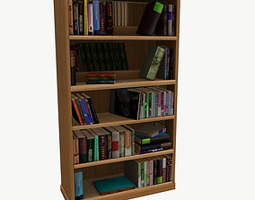 Bookcase Low Poly for game 3D asset