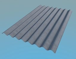 3D model Slate Roof 1130x1750mm 8 Waves