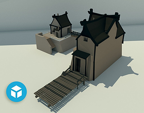 3D asset Sawmill with administration office