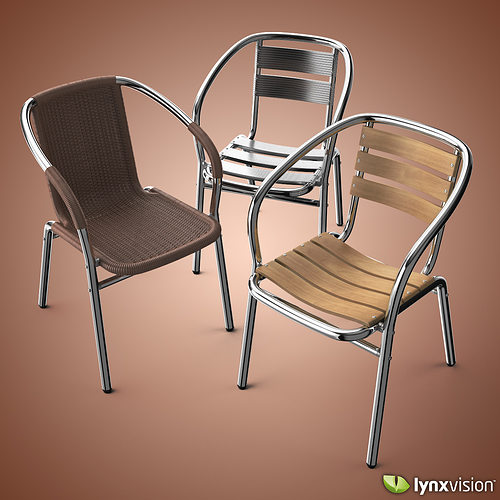 Outdoor aluminum chairs collection 3d cgtrader for Outdoor furniture 3d max
