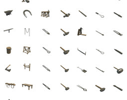blacksmith tools 3D asset