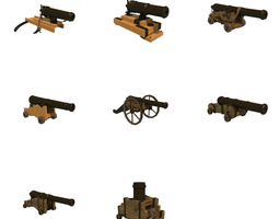 cannons 3d asset low-poly