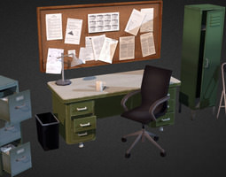office interior props 3d model game-ready
