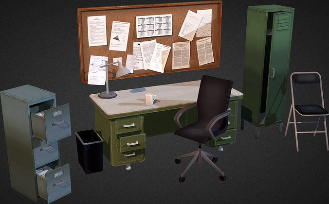 3d Model Office Interior Props Vr Ar Low Poly Max Obj