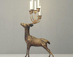 Oversize Brass Deer Candle Holder 3D