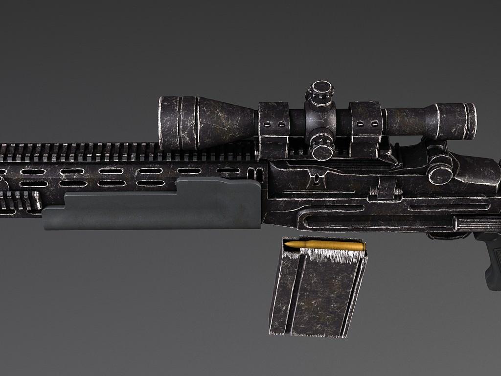 M14 EBR sniper rifle 3D Model MAX OBJ 3DS FBX C4D LWO LW ... M14 Ebr Sniper Rifle