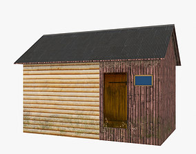 3D model game-ready Old wood hut low poly