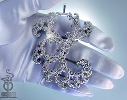 Intricate Spirals Fractal lace pendant 3D print model