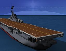 animated essex class aircraft carrier cv-9 uss essex 3d model