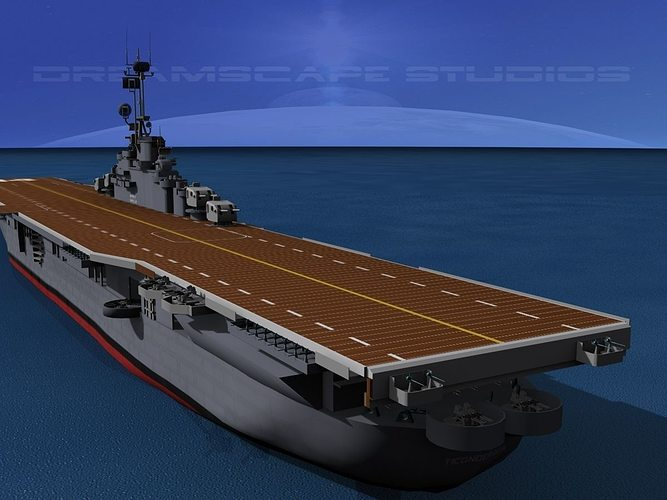 essex class aircraft carrier cv-9 uss essex 3d model rigged animated max obj 3ds lwo lw lws dxf stl 1