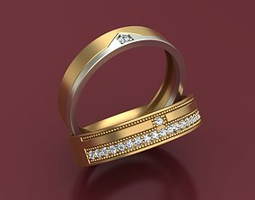 Wedding 3D Rings With Diamonds