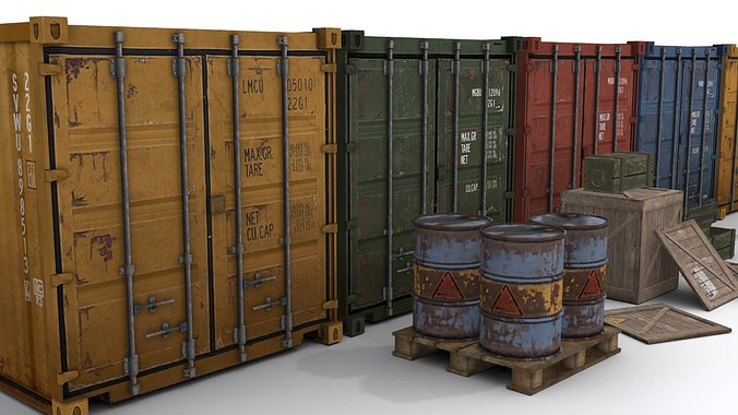cargo asset set 3d model low-poly max obj 3ds fbx mtl tga 1