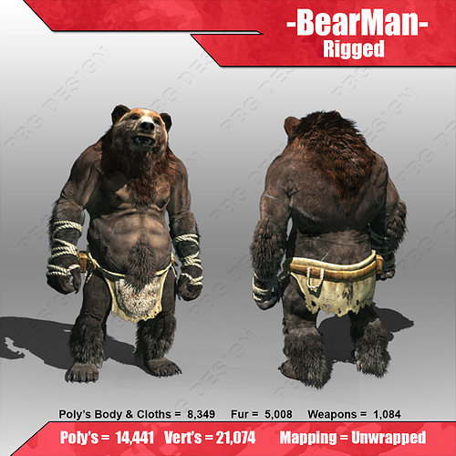bear man 3d model low-poly rigged max fbx 1
