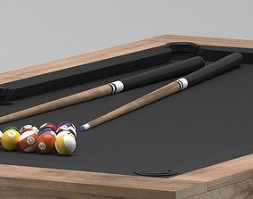 Billiard pool wirh cues and balls 3D model