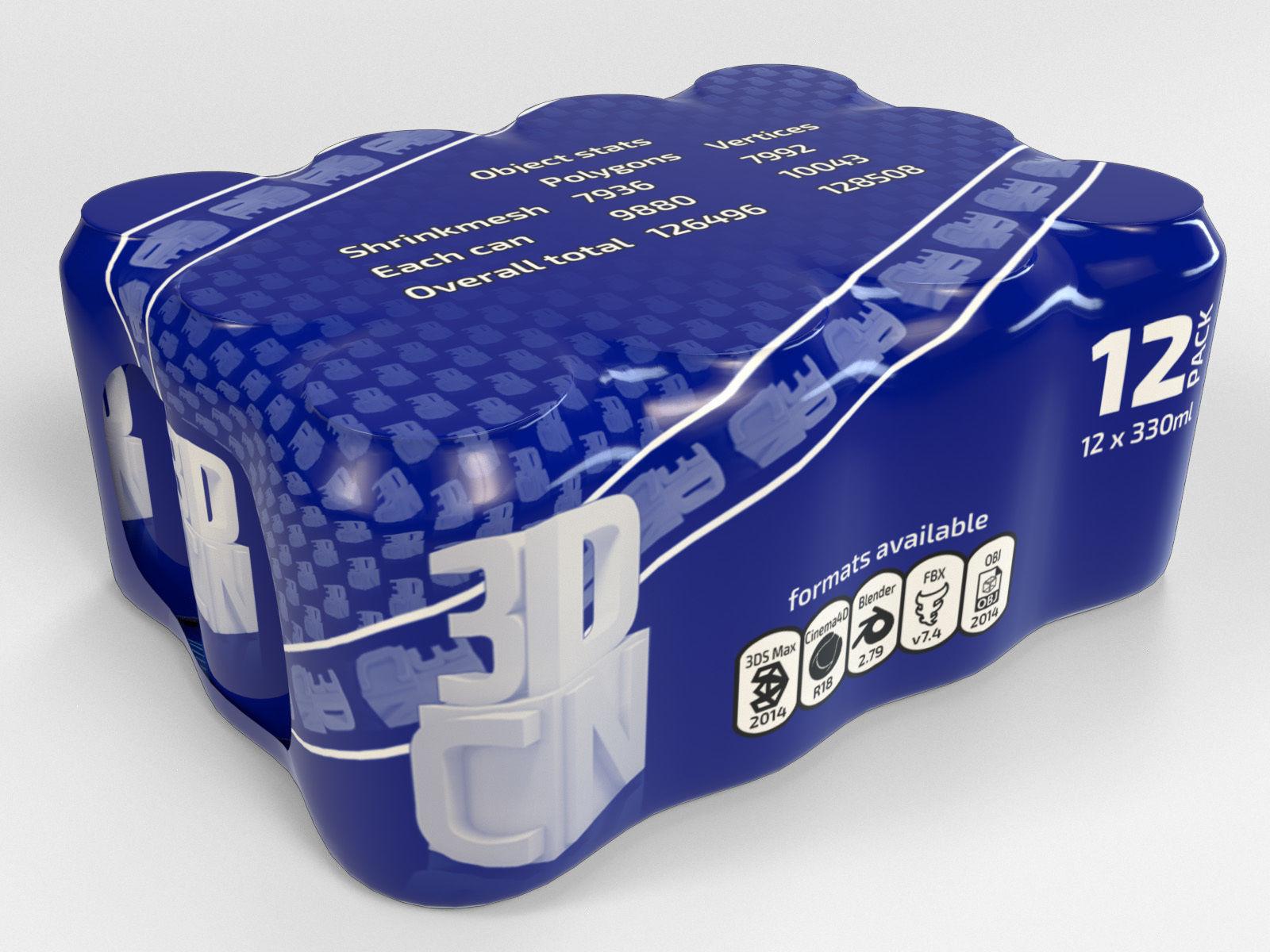 12 pack 330ml shrinkwrapped beverage cans
