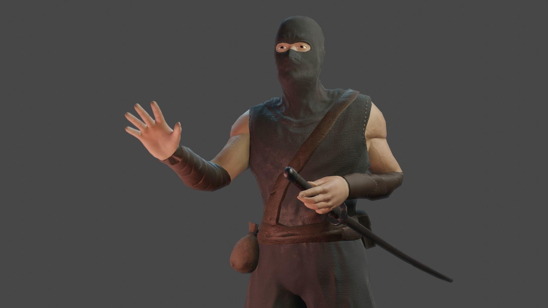 Ninja Low-Poly Facial Animation Game-Ready