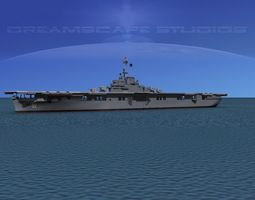 animated essex class aircraft carrier cv-18 uss wasp 3d