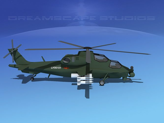 wz-10 attack helicopter  3d model low-poly max obj 3ds lwo lw lws dxf stl 1