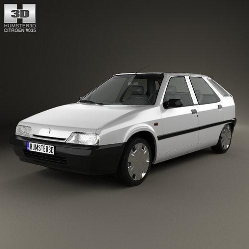 Peugeot 108 3 Door 1 0 Active Hatchback: Citroen ZX 5-door Hatchback 1991 3D Model