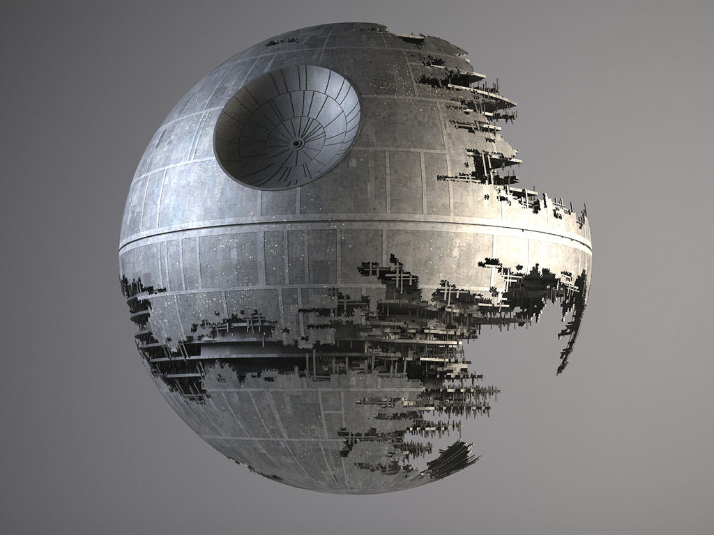 star wars death star destroyed 3d model max obj fbx c4d. Black Bedroom Furniture Sets. Home Design Ideas