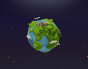 Cartoon Low Poly Earth Planet 3D model