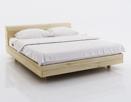 White bed linen on wooden bed 3D model