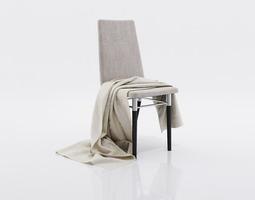 Grey thin blanket 3D model