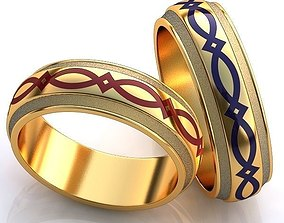 3D print model Gold Metal Rings with Colourful Ornaments
