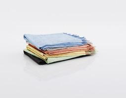 Bundle of multicolored blankets 3D