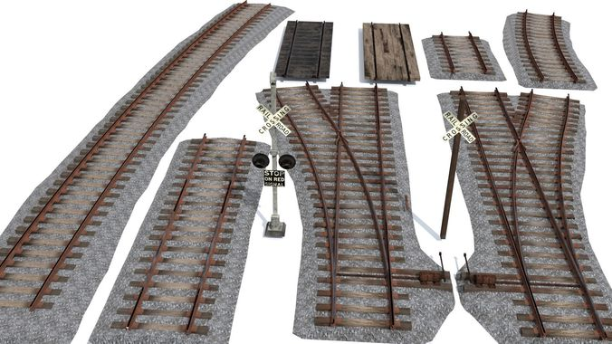 railroad track pack 3d model fbx blend 1