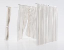 White see through window curtains 3D
