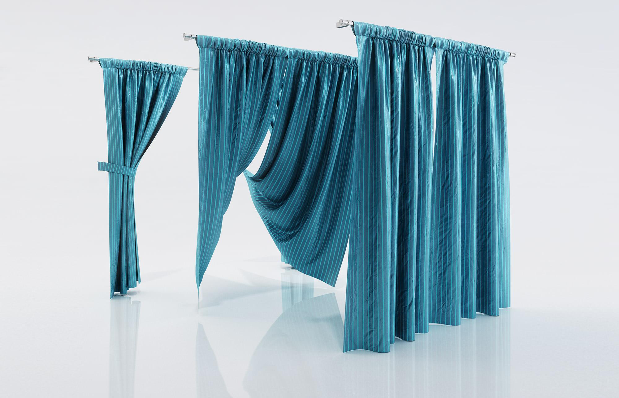 Ocean Blue Window Curtains 3d Model Max Obj Fbx C4d 1