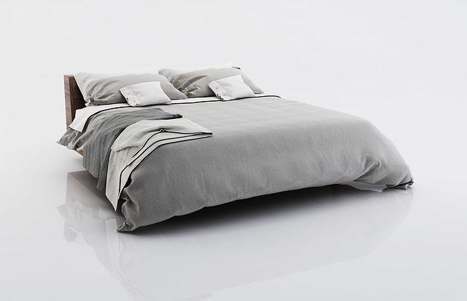 bed linen with blankets 3d model max obj fbx c4d 1
