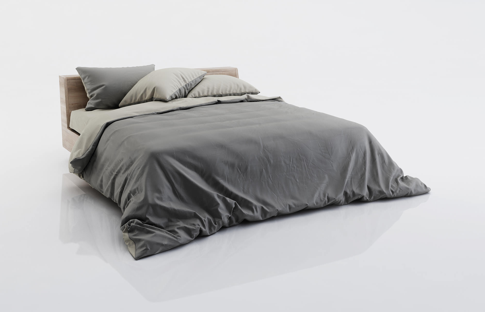 Dark And Grey Bed Linen 3d Model Max Obj Fbx C4d 1